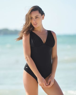 deep-v full-coverage solid slimming swimsuit with removable cups-700- Black-MainImage