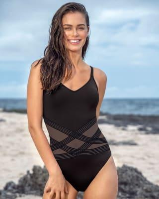 vestido de bano entero con escote en v y franjas de tul-700- Black-MainImage