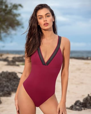one-piece v-neck slimming swimsuit-384- Cherry-MainImage