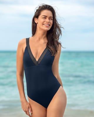 one-piece v-neck slimming swimsuit-515- Blue-MainImage