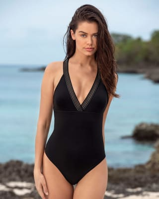 one-piece v-neck slimming swimsuit-700- Black-MainImage