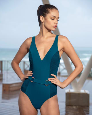 belted one-piece shaping swimsuit - lace sides-594- Azul-MainImage