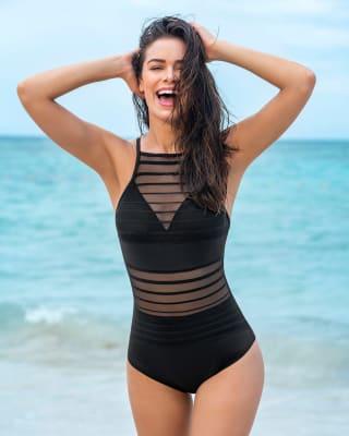 vestido de bano con control suave y transparencias en pecho y abdomen--MainImage