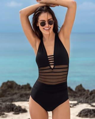 gradient one-piece sculpting swimsuit-700- Black-MainImage