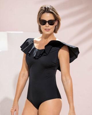 one-piece recycled shaping swimsuit  post-mastectomy ruffle-700- Black-MainImage