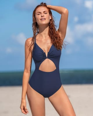 eco-friendly slimming strappy back one-piece swimsuit--MainImage