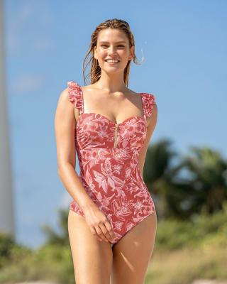 vestido de bano de control fuerte luce hasta 2cm mas delgada-354- Rosa Floral-MainImage