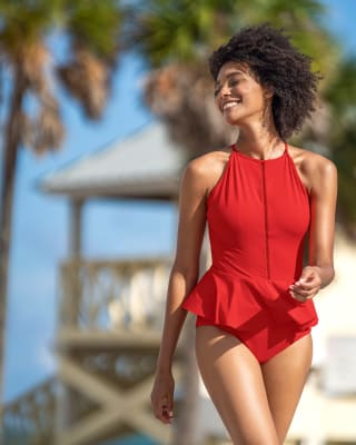 one-piece eco-friendly slimming swimsuit with decorating elements-340- Red-MainImage