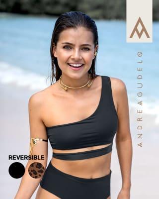 eco-friendly one-shoulder reversible bikini top - made of recycled plastic-206- Negro / Estampado-MainImage