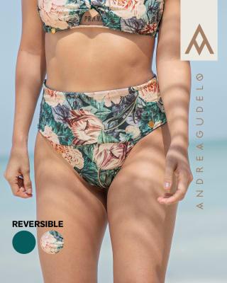 eco-friendly high-waisted reversible bikini bottom - made of recycled plastic-064- Estampado Flores-MainImage