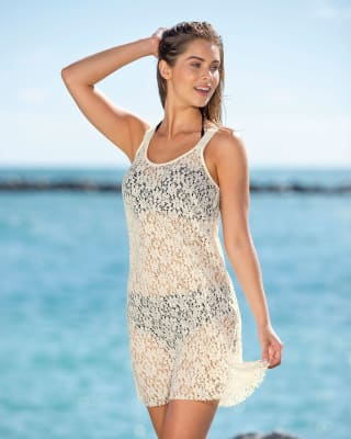 short all lace beach cover up dress-898- Ivory-MainImage