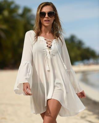 vestido corto de playa con escote profundo-018- Ivory-MainImage