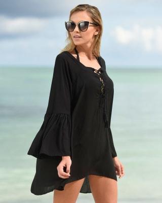short plunge cover-up beach dress-700- Black-MainImage