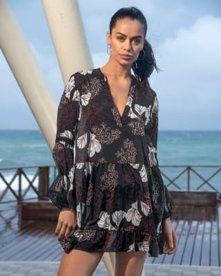 cover-up beach dress - loose-fit design-712- Negro Estampado-MainImage