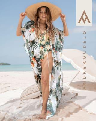 eco-friendly multiway beach cover-up kimono - made of recycled plastic-088- Estampado Hojas-MainImage