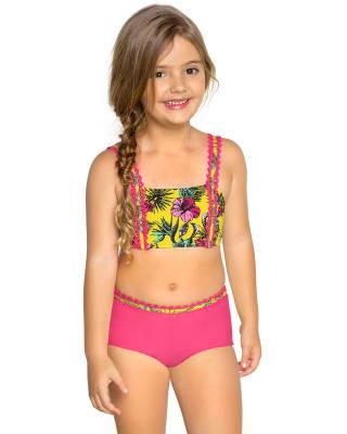 bikini de nina con minishort-121- Yellow-MainImage