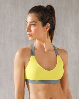 color block cross-back sports bra - removable contour padding-121- Amarillo-MainImage