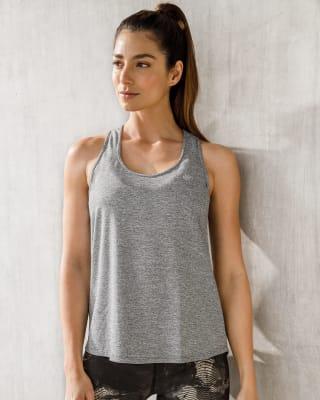 camiseta deportiva para mujer - espalda atletica con malla transpirable-717- Gris Jaspe-MainImage