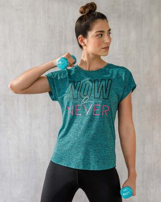 camiseta deportiva para mujer de secado rapido con aberturas en espalda-666- Verde Oscuro-MainImage