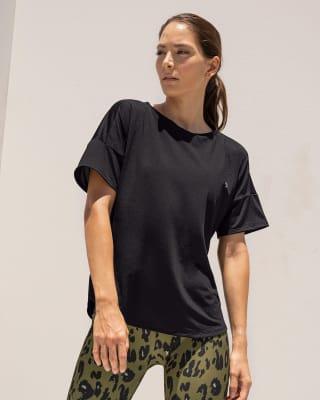 camiseta deportiva de secado rapido y silueta amplia para mujer-700- Negro-MainImage