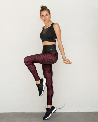 high-waisted quick dry active legging-173- Printed Wine-MainImage