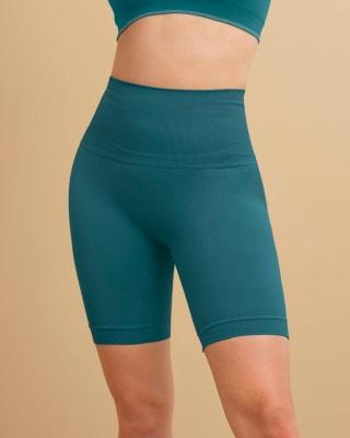short ciclista sin costuras con control suave de abdomen-556- Azul Turqueza-MainImage