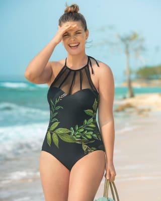 vestido de bano entero con high neck con transparencias-701- Negro-MainImage