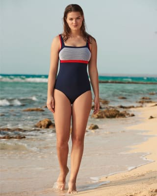 sporty tummy-toning swimsuit - ideal for swimming-520- Azul Oscuro-MainImage
