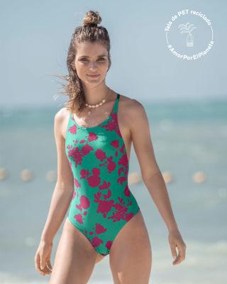 vestido de bano entero de control y trenza en macrame elaborado en pet reciclado-632- Estampado Verde-MainImage