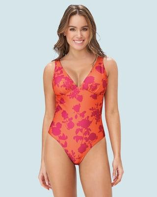 vestido de bano doble faz con control suave de abdomen elaborado en pet reciclado-218- Estampado Naranja-ImagenPrincipal