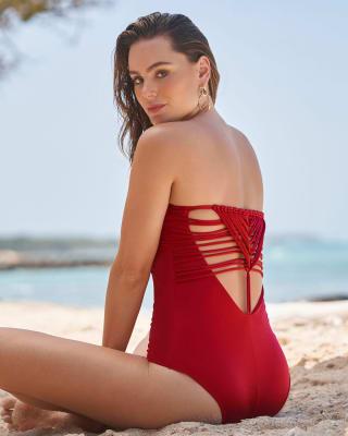 vestido de bano strapless con macrame y control suave de abdomen-340- Rojo-ImagenPrincipal