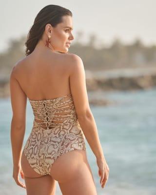 vestido de bano strapless con macrame elaborado a mano y control suave de abdomen-318- Estampado Piel-ImagenPrincipal