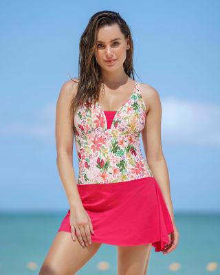 vestido de bano de control suave con fajon multiusos incorporado-012- Estampado Flores-MainImage