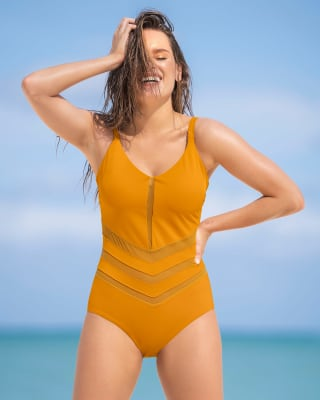 vestido de bano entero con control de abdomen bajo y detalles en tul-122- Amarillo-ImagenPrincipal