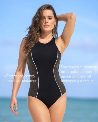 vestido de bano entero de control silueta deportiva-700- Negro-MainImage