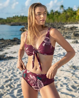 bikini doble faz elaborado con top anudable en el frente-382- Estampado Vino Tinto-MainImage