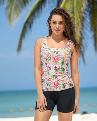 vestido de bano de 2 piezas con camiseta y short corto-012- Estampado Flores-MainImage