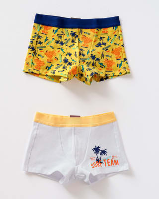 paquete x 2 boxers leo en algodon  para ninos-S37- Amarillo Estampado - Blanco Estampado-MainImage