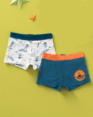 paquete x2 boxers en algodon para ninos-S40- Blanco Estampado / Fondo Azul-MainImage
