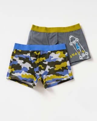 paquete x 2 boxers leo en algodon  para ninos-S41- Camuflado / Gris Estampado-ImagenPrincipal