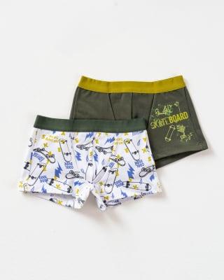 paquete x 2 boxers leo en algodon  para ninos-S42- Blanco Estampado / Fondo Verde-ImagenPrincipal