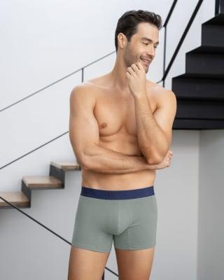 paquete x2 boxers cortos en algodon elastico-S46- Azul Oscuro / Gris Claro-MainImage