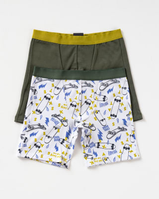 paquete x 2 boxer largo en algodon para nino-S01- Blanco Estampado / Verde Oscuro-MainImage