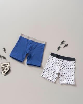 paquete x 2 boxer largo en algodon para nino-S04- Blanco Estampado / Azul Naval-ImagenPrincipal