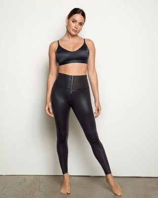 leather look zip-front sculpting legging--MainImage