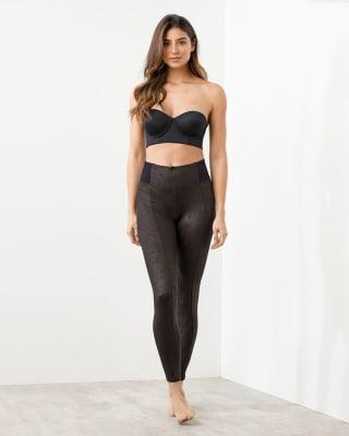 faux snakeskin shaper leggings-701- Black-MainImage