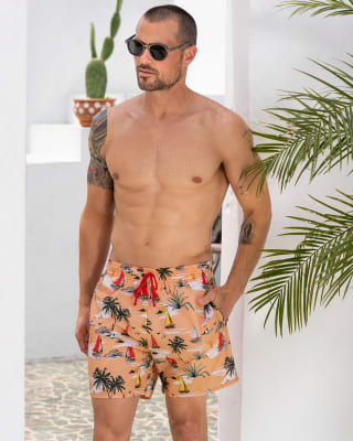 pantaloneta de bano masculina elaborada con material de pet reciclado-290- Naranja Medio-ImagenPrincipal
