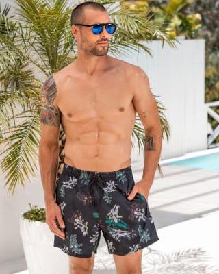 pantaloneta de bano masculina elaborada con material de pet reciclado-520- Azul Oscuro Jaspe-ImagenPrincipal