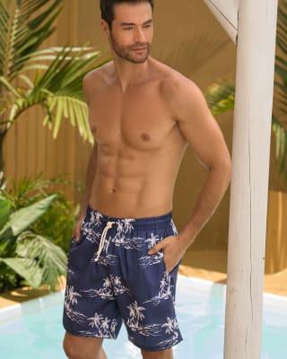 pantaloneta de bano masculina corta elaborada con 3 botellas de pet reciclado-509- Estampado Palmeras-ImagenPrincipal