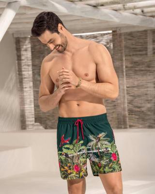 pantaloneta corta de bano para hombre elaborada con pet reciclado-695- Verde Estampado-MainImage